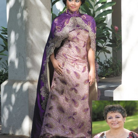 Designer: Cynthia Verano Model: Shirell Bell Outfit: Persianinspired lace gown with cape