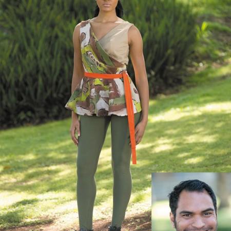 Designer: Uoleni Tupuola Model: Tjan Hall Outfit: handpainted jungle camouflage wrap peplum with green leggings