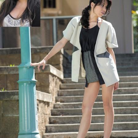 Designer: Emilee Gibo Model: Salem Sipes Outfit: Blue mini dress with polka dot print on pockets and cape-like jacket