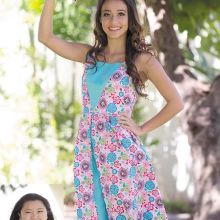 Designer: Courtney Hamada Model: Kyla Hagedorn Outfit: Pink and blue floral print box pleat dress
