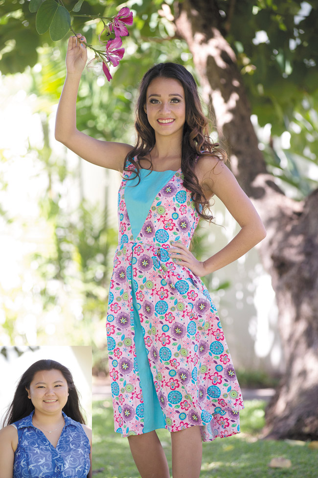 Designer: Courtney Hamada Model: Kyla Hagedorn Outfit: Pink and blue floral print box pleat dress