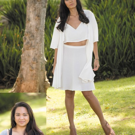 Designer: Bryah Godoy Model: Charyse Iseri Outfit: White crop top with flowy skirt and coverup