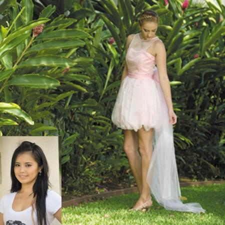Designer: Kayoko Yamaoka Model: Allison McIntyre Outfit: Pink bubble dress with rose train