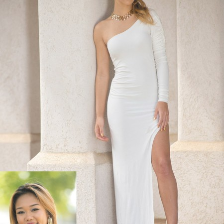 Designer: Mary Jane Bayudan Model: Kyiah Mason Outfit: White Asymetrical oneshoulder dress with ruched sleeve and high slit