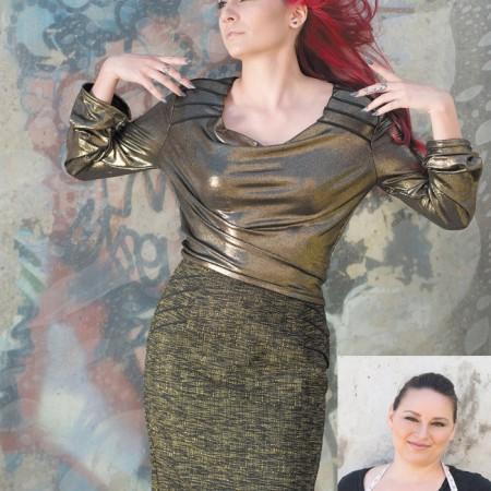Designer: Jacqueline Miszuk Model: Chelsey Colon Outfit: Metallic knit blouse and wool skirt