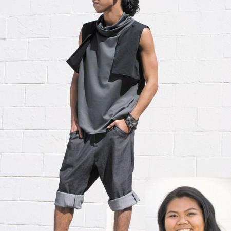 Designer: Liberty Mae Dela Cruz Model: Jericho Caballero Outfit: Low-drop crop pants, sewn-in vest with shift cowl tank top