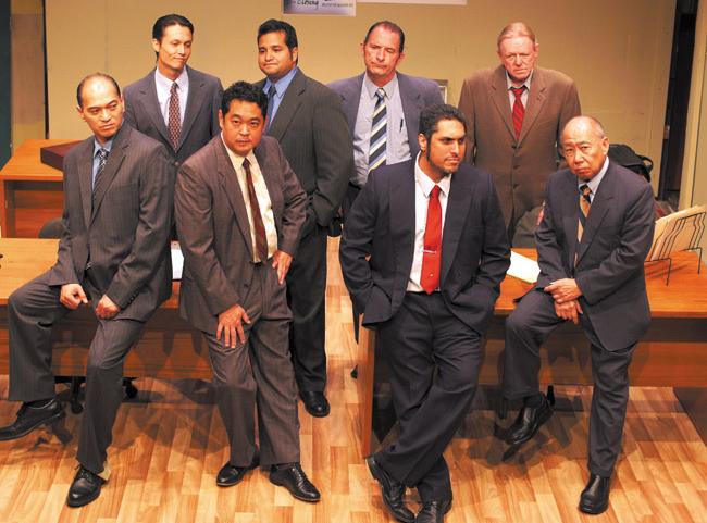 'Glengarry Glen Ross' features (front, from left) Jim Aina, Stu Hirayama, Troy Ignacio, Dann Seki, (back) A.J. Song, Maleko McDonnell, Eli Foster and Alan Picard. PHOTO BY EDO NATASHA