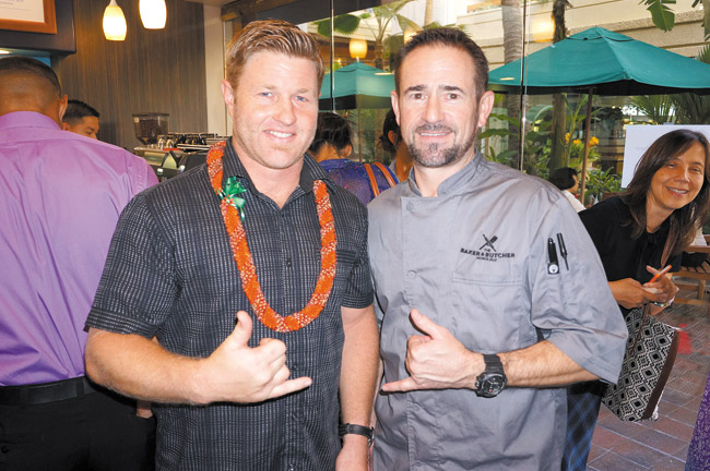 A special blessing was held May 15 for the opening of Kai Coffee in Hyatt Regency Waikiki Beach Resort & Spa. Pictured is Kai Coffee owner Sam Suiter with Roger Meier of The Baker & Butcher.