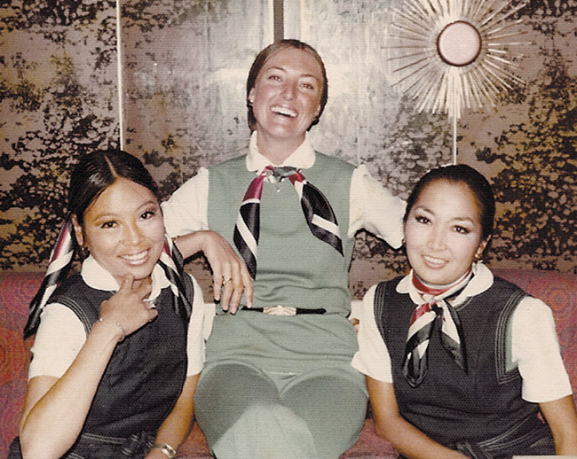 The Pan Am cookbook team of (from left) Elane Kato, Teresa Webber and Geri Kai in a pose from the past. Photo from Teresa Webber.