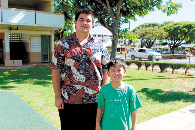 Koali'i Ladao spends time each week at Aliiolani Elementary School with his Little Brother, Kama. The relationship nurtured between the two over the past two years led to Ladao being recognized as Oahu School-based Big Brother of the Year. Photo from Big Brothers Big Sisters Hawaii.
