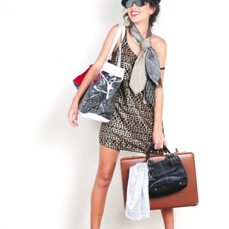 Model: Ciara Northen Stylist: Ian Abadie Forever 21 gold sequin dress $6.99, Versace Parfums clear tote $4.99, Tignanello black purse $4.99, necktie $2.99, Shield sunglasses $3.99, fedora $2.99, brown leather suitcase $8.99
