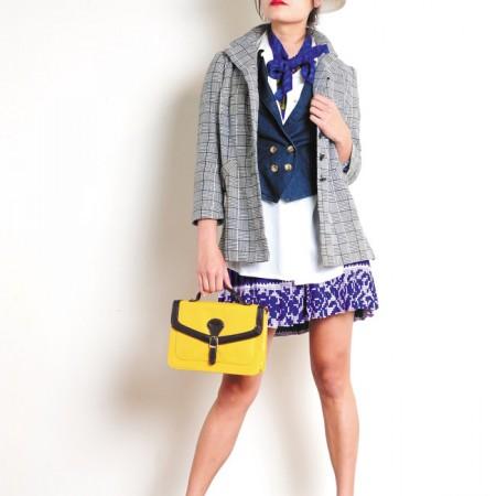 Model: Rebecca Lin Stylist: Jade Rabut Glam white heels $14.99, Summer Club white straw hat $3.99, Primark yellow messenger bag $4.99, Miss Carol purple digital print dress $8.99, The Limited white blouse $6.99, The Clothes Horse checkered blazer $12.99, zebra print belt $2.99, denim vest $6.99, red sunglasses $2.99