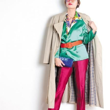 Model: Rebecca Lin Stylist: Jade Rabut Ann Taylor red trousers $6.99, Georgiou Studio green and brown boucle skirt $8.99, Wet Seal gold belt $2.99, Aquascutum of London trench coat $12.99, SK & Company green blazer $10.99, Williams for Williams nautical rope print top $8.99, Fahrenheit denim heels $12.99