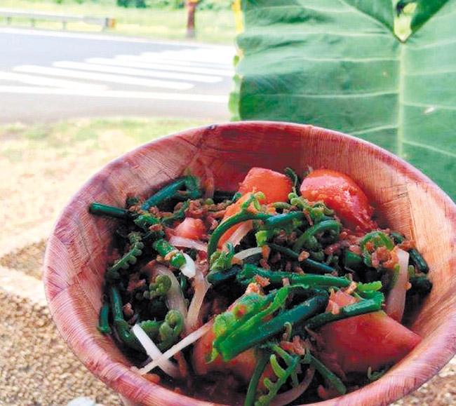 Ho'io Salad PHOTO COURTESY JAYSEN HO'OPAI, WAIAHOLE POI FACTORY