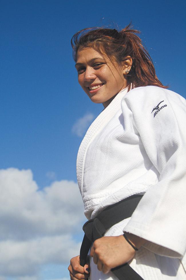 Wrestler Teshya Alo in her judo gi. Making Waves Films LLC photo