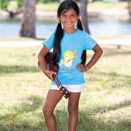 Kassidy Yago: Island Yumi 'Mele' T-shirt in aqua $20 and ponytail holders $9.95 (set of two)