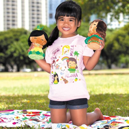 Alyssa Tabarejo: Island Yumi 'Playdate' T-shirt in pink $20, towel $15.99, 'Aloha' ponytail holders $9.95 (set of two), 'Aloha' plush doll $19.95 and 'Mai' plush doll $19.95