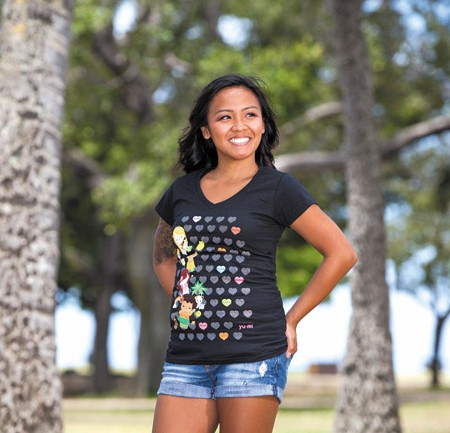 Ashley Manuel: Island Yumi 'Sweet Hearts' T-shirt in black $22