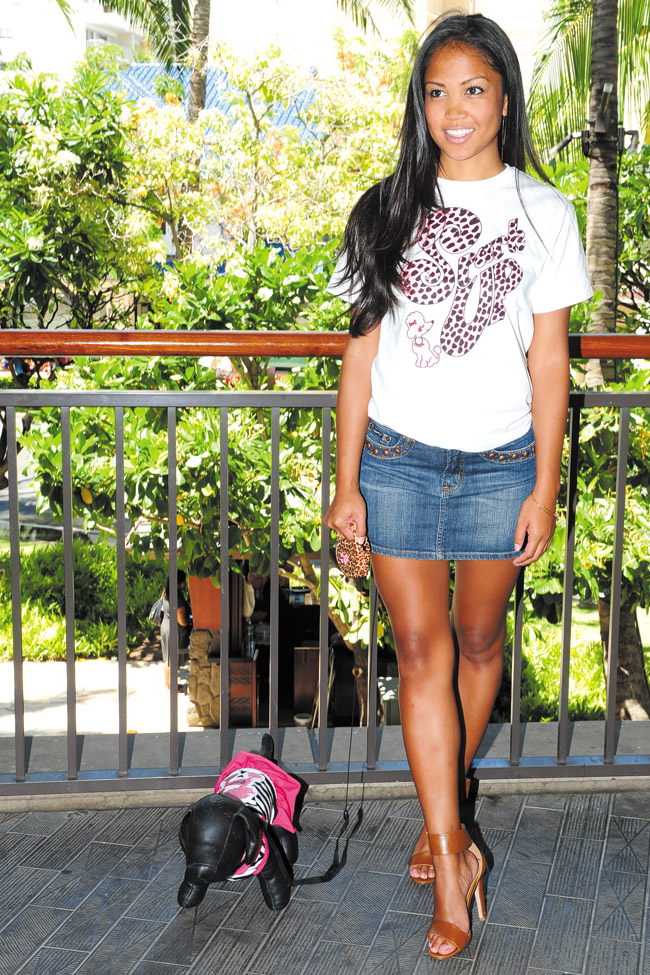 Seychelle Moore: Spark 'Up Pink Panther' T-shirt $19.99, denim skirt with studs $30, Spark stripe dress for dog $28.99