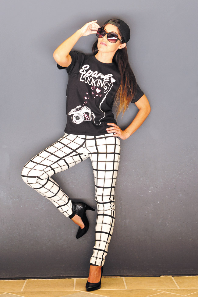 Nikki Thommes: Spark 'Looking' T-shirt $19.99, black and white pants $28.99