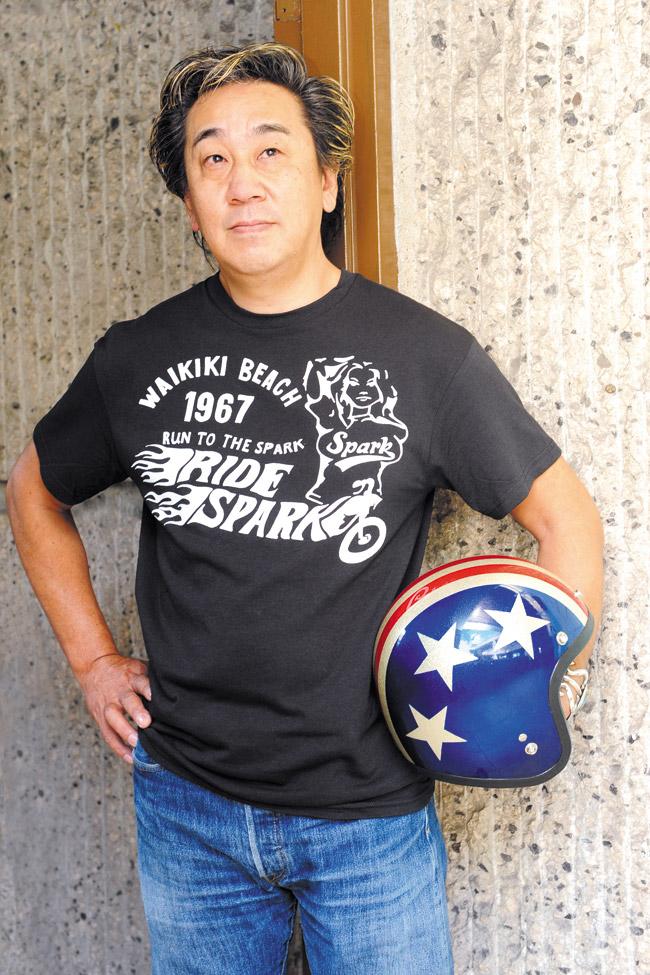 Masa Iwata: Spark 'Waikiki Beach Ride' T-shirt $19.99, 1980s Easy Rider vintage helmet $125