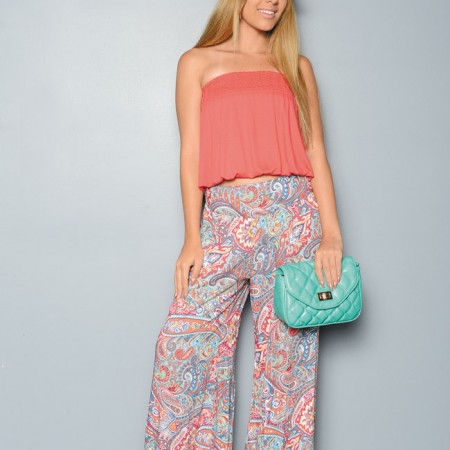 Kyra Armstrong: Choice coral banded seamless tube top $14.95, Cookies paisley print yoga pants $34.95, fedora $22 and Urban Expressions quilted clutch with detachable chain strap in mint $49.95 from Cookies Clothing Co.