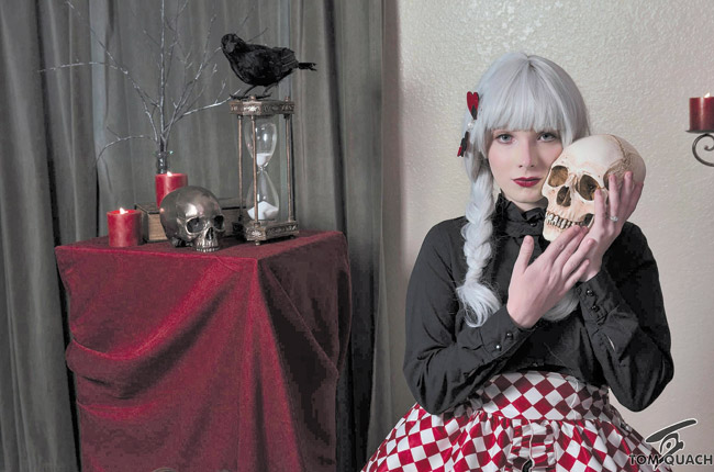 Model Caitlin Moore gets a horror makeover by designer Erica Antoine aka Cherie PHOTO BY TOM QUACH