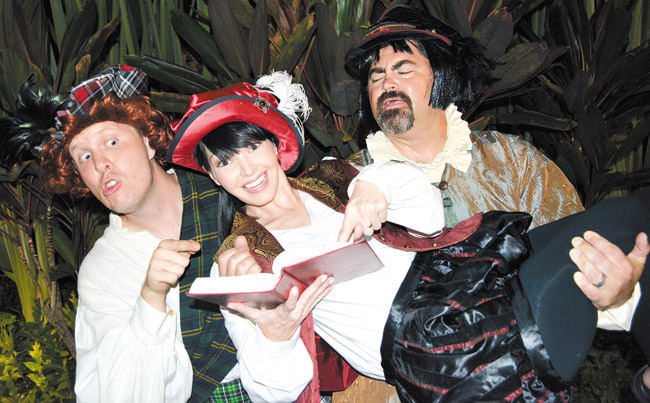 Adam LeFebvre, Therese Olival and Kevin Keaveney in 'The Complete Works of William Shakespeare (Abridged)' PHOTO COURTESY HAWAIIAN MISSION HOUSES