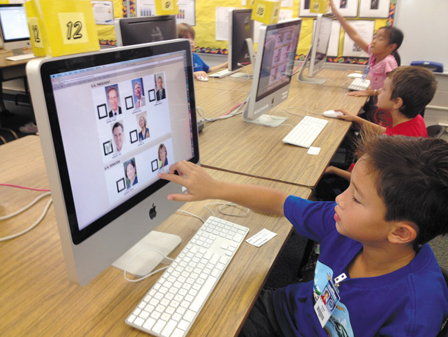 Keiki in the We Vote Hawaii program take voting seriously. PHOTO COURTESY WE VOTE HAWAII