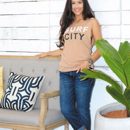 Tiana Koch: Sundry 'Surf City' muscle tee $66, Current/Elliott 'The Fling' boyfriend jeans $198 (Model Tiana Koch / Larson Talent)
