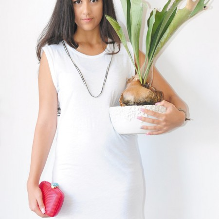 Tiana Koch: Sundry white muscle dress $92, Kayu straw clutch $185 (Model Tiana Koch / Larson Talent)