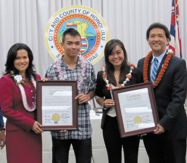City Councilmembers Kymberly Pine and Ron Menor presented honorary certificates to recent Campbell High graduates Zachary Recolan and Kawehi Dodge. Photo from Ron Menor's office.