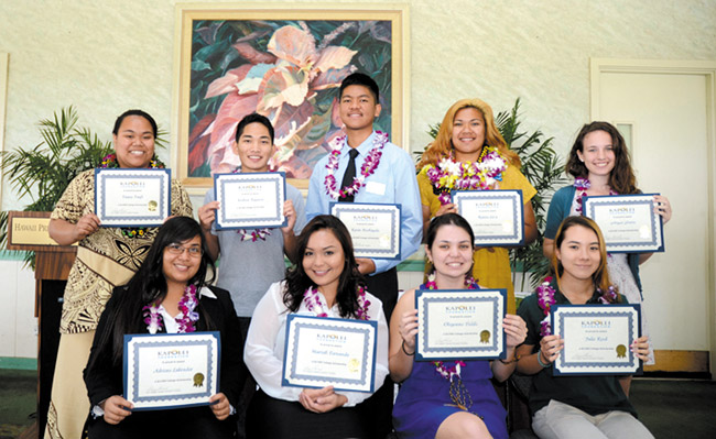 Kapolei Foundation and Rotary Club of Kapolei awarded 2014 college scholarships to (front, from left) Adriene Labrador, Mariah Fernando, Cheyenne Fields, Julie Reed, (back) Taase Taofi, Joshua Ragasa, Kevin Bechayda, Renise La'a and Abigail Dahlin. Photo from Rotary Club of Kapolei.