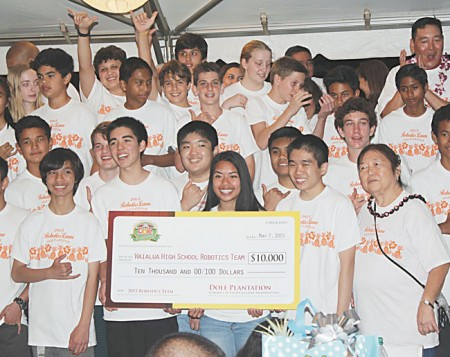 Members of the Waialua robotics team celebrate another successful fundraiser May 7 at Dole Plantation. The annual benefit supports the handful of national tournament trips for the award-winning team. PHOTO FROM DOLE PLANTATION.