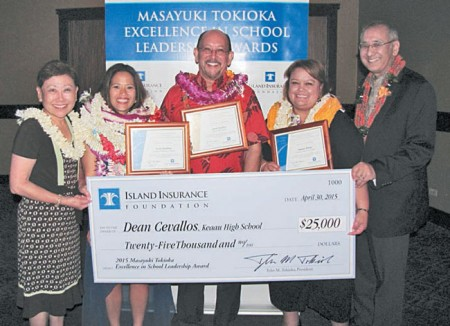 (from left) DOE superintendent Kathryn Matayoshi, Kanoelani Elementary principal Stacie Kunihisa, Keaau High School principal Dean Cevallos, Haleiwa Elementary principal Malaea Wetzel and Island Insurance Foundation president Tyler Tokioka at the annual Public Schools of Hawaii Foundation Dinner April 30, which honored the finalists and winner of the Masayuki Tokioka Excellence in School Leadership Award. PHOTO COURTESY ISLAND INSURANCE FOUNDATION.