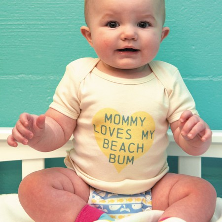 Paxtyn Thomas: Beach Bums Kailua 'Mommy Loves My Beach Bum' tee specially printed with eco-friendly inks $23.95, Thirsties Duo Wrap adjustable waterproof diaper cover $13.25 from Beach Bums Kailua, Attipas 'Together' in pink/yellow/blue $24.99 from Happy Tots Hawaii