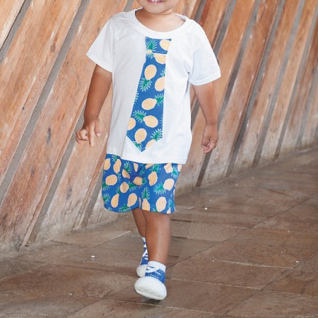 Tobias Sanchez: Sophia's Closet 'Pineapple' tie tee and shorts $32 (set), Attipas blue sneaker $29.99 from Happy Tots Hawaii (two pairs for $50 at expo)