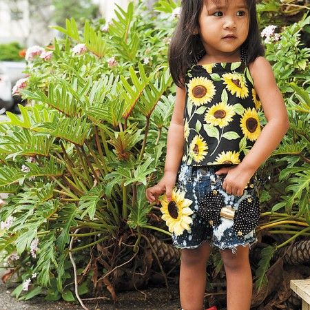 Sophia Behic: Winzerbaby Boutique handmade upcycled one-of-a-kind sunflower denim shorts with matching halter top $45 (set), Attipas black ballet $29.99 from Happy Tots Hawaii (two pairs for $50 at expo)